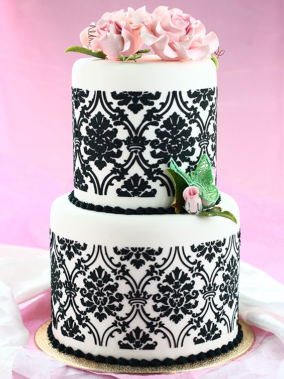 Black & White Mini Wedding Cake