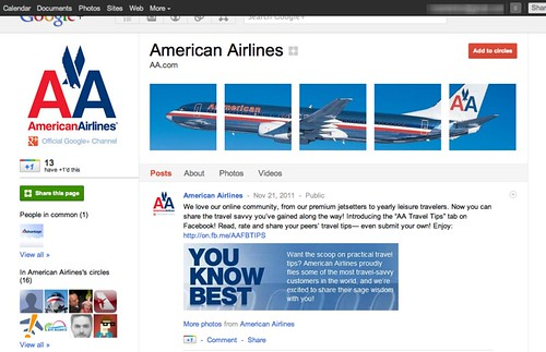American Airlines - Google Plus branded page