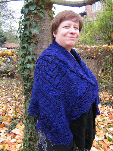 Mom in her new knitted shawl