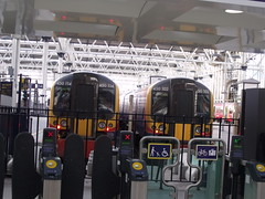 London Waterloo Station - ticket barriers and South West Trains - 450 114 and  450 102