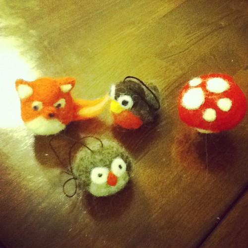 The beginnings of my needle felted ornament collection.