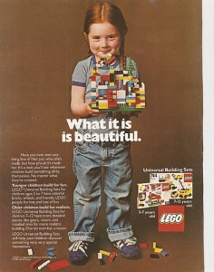 Old Lego ad showing young girl in overalls proudly holding her Lego creation.