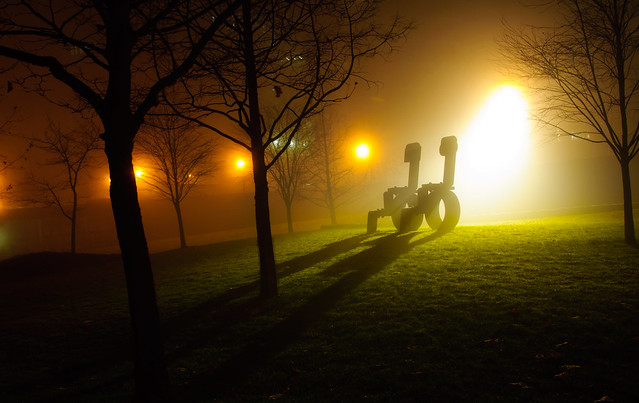 King and Queen by Sorel Etrog, Harbour Green Park, Fog