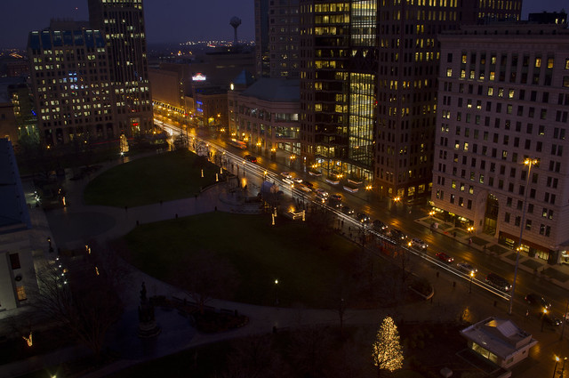 statehouse lawn at night