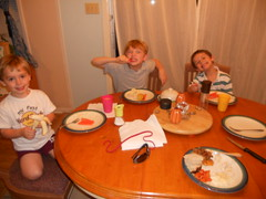 Our Thanksgiving leftover meal.  (Leftovers from my sisters house from the weekend + carrots, bananas, & bread)