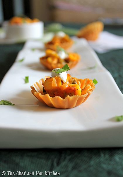 The chef and her kitchen canapes with italian style corn for Italian canape ideas