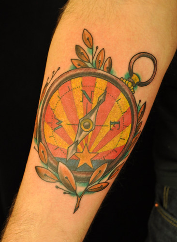 Compass tattoo by Matt Lentz  by UndertheNeedle