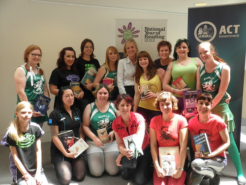 Ambassadors from the Canberra Roller Derby League with ACT Chief Minister Katy Gallagher