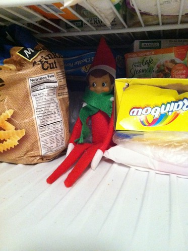 Elf hiding in the freezer