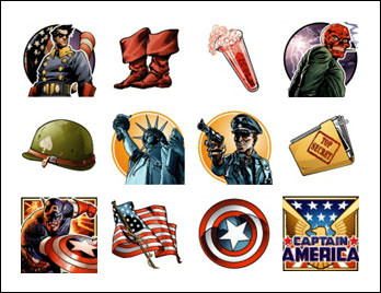 free Captain America slot game symbols