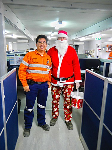 Santa in Lihir Island, Papua New Guinea Newcrest Office
