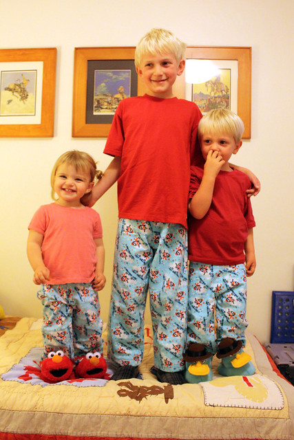Cousins with matching jammies