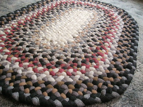 Vintage Wool Braided Rug in Earthtones from upcycled wool