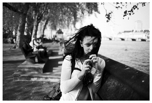 windswept girl by the thames