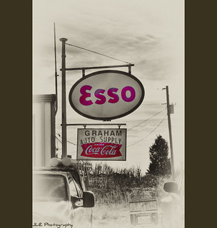 Graham Auto Supply, Esso sign, Coca-Cola sign