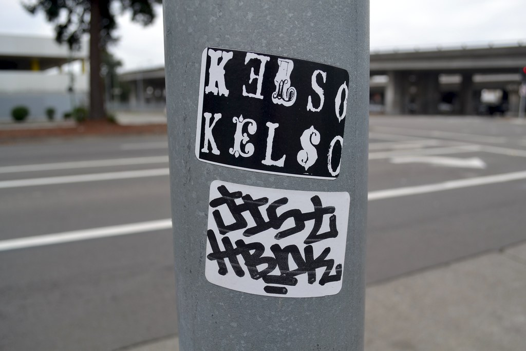 KELSO, JIST, sticker, Street Art, Oakland, Graffiti
