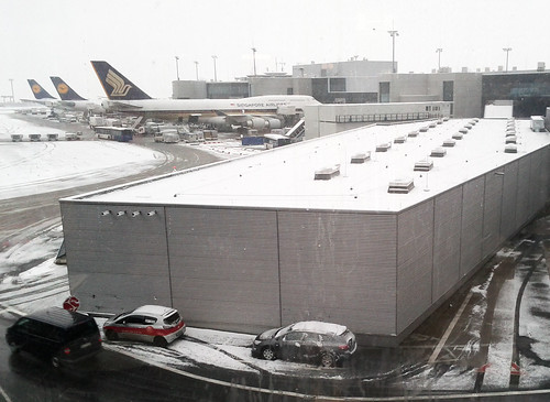 Snowfall in Frankfurt Airport