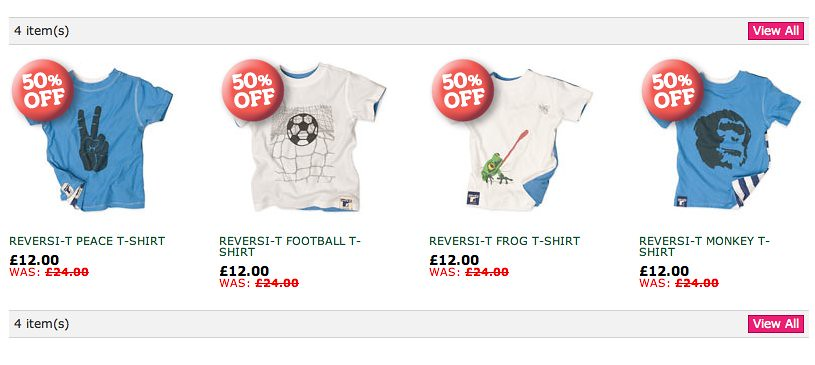 Screenshot of tshirts for boys from greenbaby.com