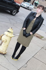 Black and yellow outfit: thrifted Ralph Lauren mock wrap dress, wool tights, thrifted leather jacket, Vinvienne Westwood Lady Dragon shoes