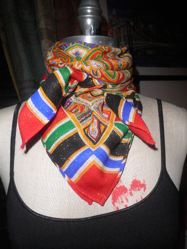 Vintage Scarf by Ornamentation Colorful Paisley Design Made of Virgin Wool by Brick City Vintage
