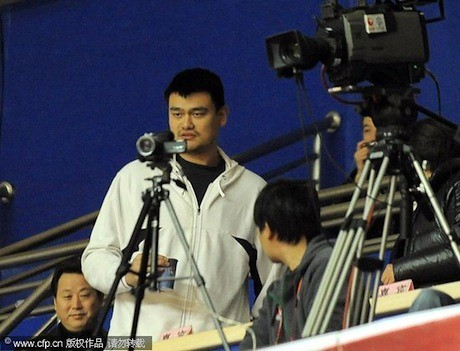 January 4th, 2012 - Yao Ming watches his Shanghai Sharks win their 6th game in a row