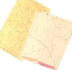 Cadastre Napoléonien : Partie Haut-Cavu NW par mise au Nord et collage des feuilles Conca A1 et A2