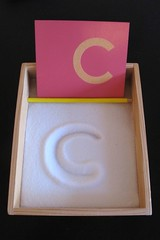 Sandpaper Letter with Salt Tray (Photo from Peaceful Parenting)