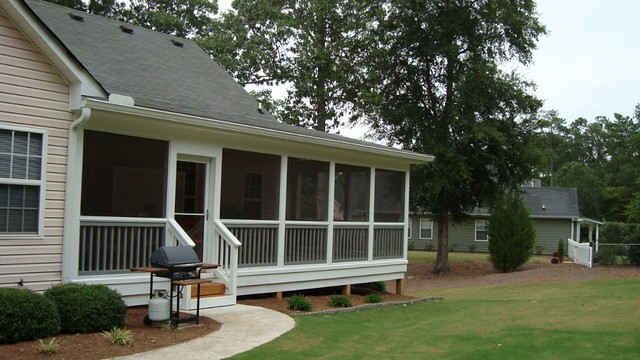 Pressure treated screen porch with shed roof www Shed with screened porch