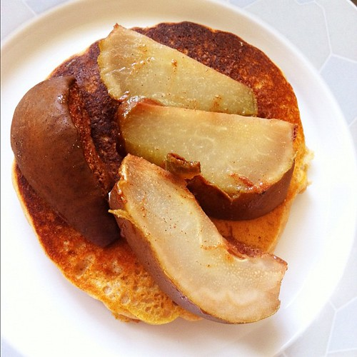 Ginger baked pear on pancake