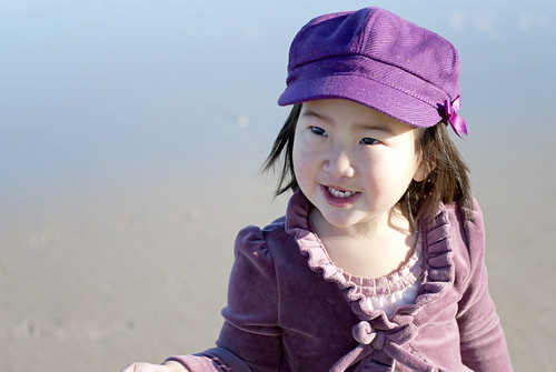 lily purple hat looking up