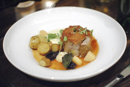 stuffed veal breast, alpine potato, quince, prune, braised chestnut