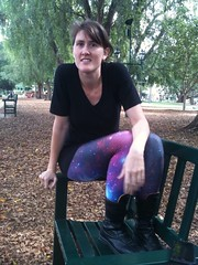 Black Milk Purple Galaxy legging at Brisbane Botanical Gardens