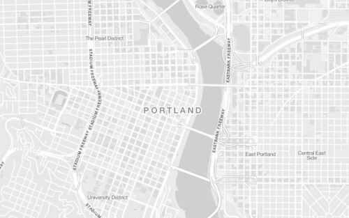 A look at Portland, Ore., on the new OpenStreetMap Mininal basemap
