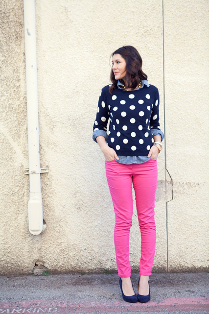 Kendi Everyday, polka dot sweater, pink pants, blue shoes