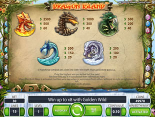 free Dragon Island slot payout