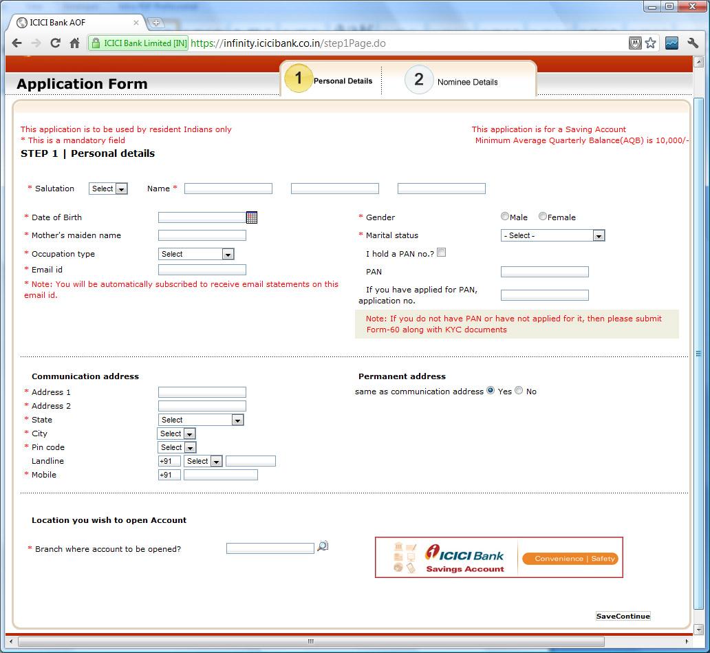 icici bank savings account application track