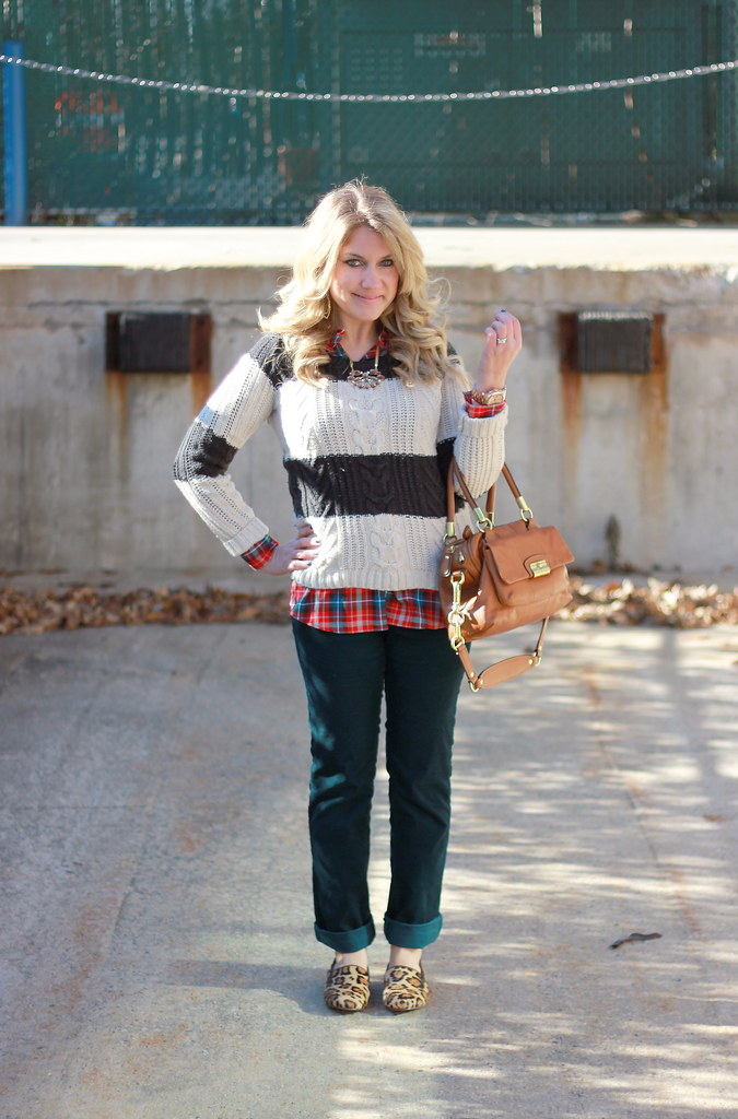 Stripes, plaid, and leopard casual outfit