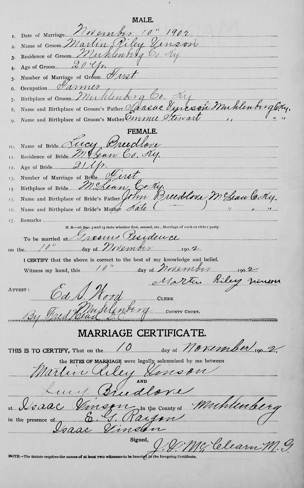 Martin Riley Vincent and Lucy Johnson Breedlove Marriage Record