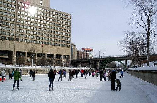 Canal skating, Laurier Bridge and DND building