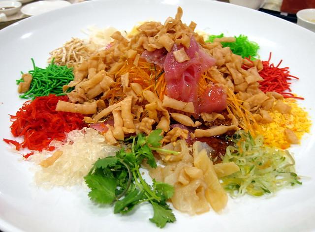 Gold Leaf, Tuna and Caviar Yee Sang