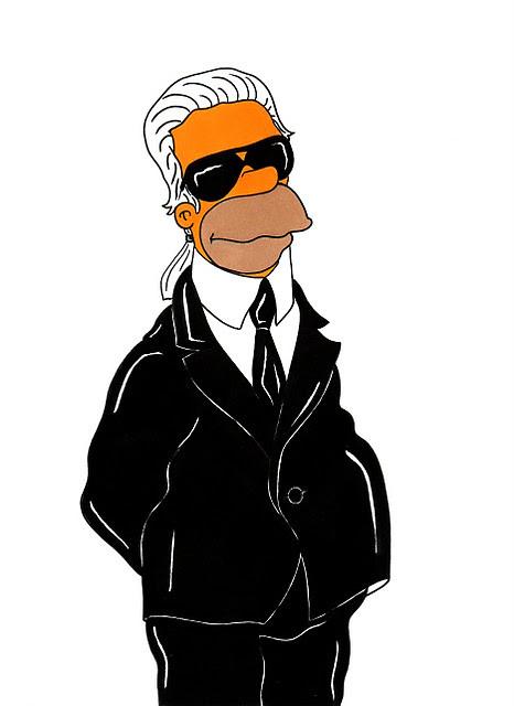 Homer Simpson. Karl Lagerfeld