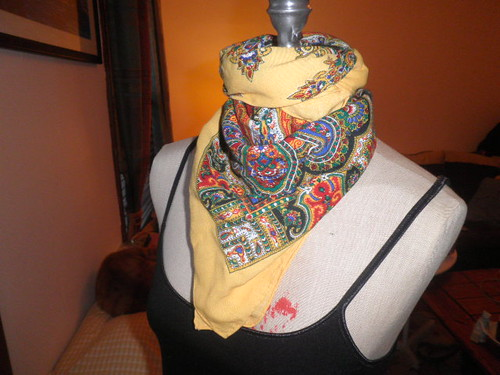 Vintage Scarf Colorful Paisley Design With Yellow Border by Brick City Vintage