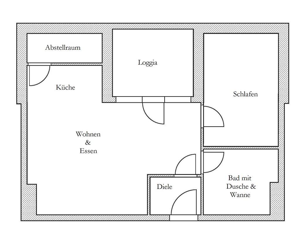 Grundriss Der 2-Zimmer-Wohnung In Erftstadt/Lechenich