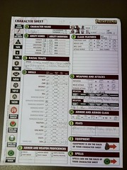 Number One Son's First Character Sheet