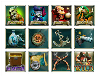 free Ghost Pirates slot game symbols
