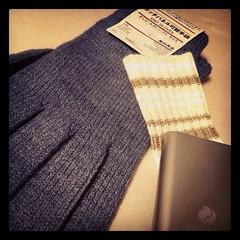 電子カイロと手袋。