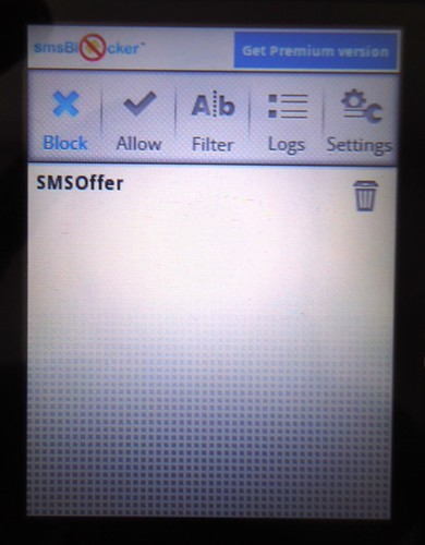Terdapat 5 menu di smsBlocker