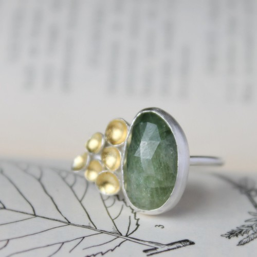 Green Sapphire and itty bitty seed cluster ring