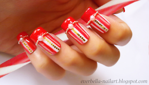 candy cane nail art design final look