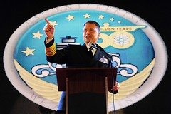 Adm. James A. Winnefeld Jr. speaks about the aircraft carrier USS Enterprise (CVN 65).